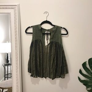Free People Embroidered Tank Blouse in Green